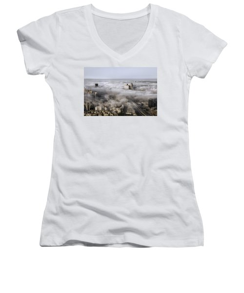 Women's V-Neck T-Shirt (Junior Cut) featuring the photograph City Skyscrapers Above The Clouds by Ron Shoshani