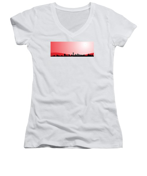 Cityscapes - Miami Skyline In Black On Red Women's V-Neck T-Shirt (Junior Cut) by Serge Averbukh