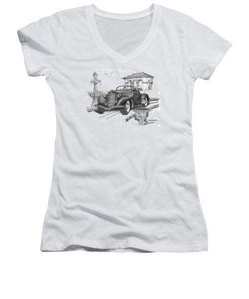 Classic Auto With Formal Gardens Women's V-Neck