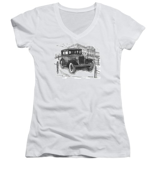 Classic Auto With Mills Mansion Women's V-Neck