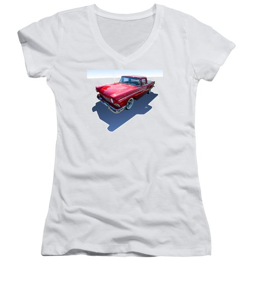 Women's V-Neck T-Shirt (Junior Cut) featuring the photograph Classic Red Truck by Gianfranco Weiss