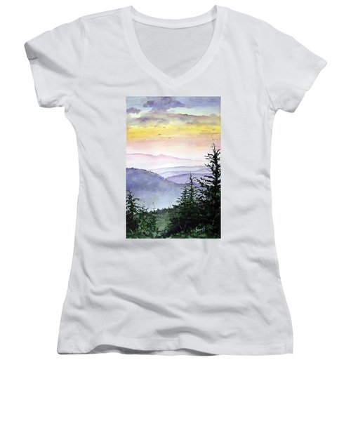 Clear Mountain Morning II Women's V-Neck (Athletic Fit)