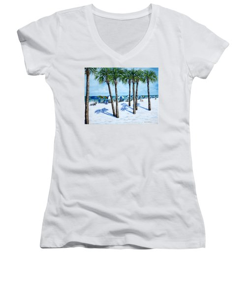 Clearwater Beach Morning Women's V-Neck T-Shirt (Junior Cut) by Penny Birch-Williams