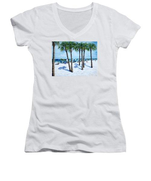 Clearwater Beach Morning Women's V-Neck T-Shirt