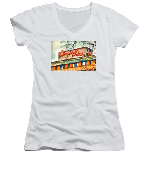 Clemson House Women's V-Neck T-Shirt (Junior Cut) by Lynne Jenkins