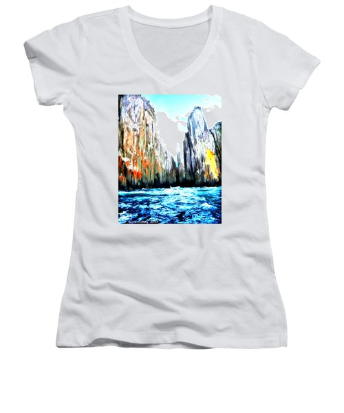 Women's V-Neck T-Shirt (Junior Cut) featuring the painting Cliffs By The Sea by Bruce Nutting