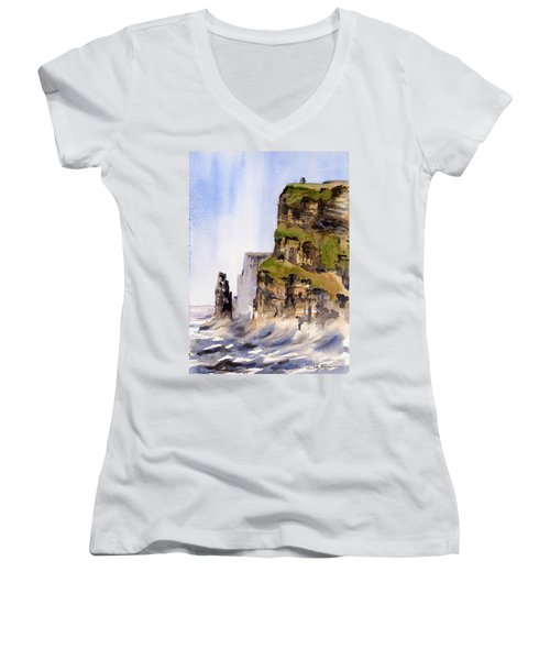 Clare   The Cliffs Of Moher   Women's V-Neck (Athletic Fit)