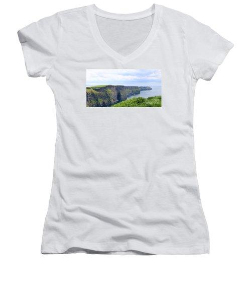 Cliffs Of Moher Panorama 3 Women's V-Neck T-Shirt