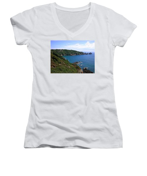 Cliffs On Isle Of Guernsey Women's V-Neck