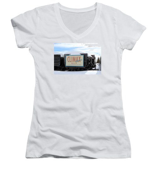 Climax Colorado Women's V-Neck T-Shirt (Junior Cut) by Fiona Kennard