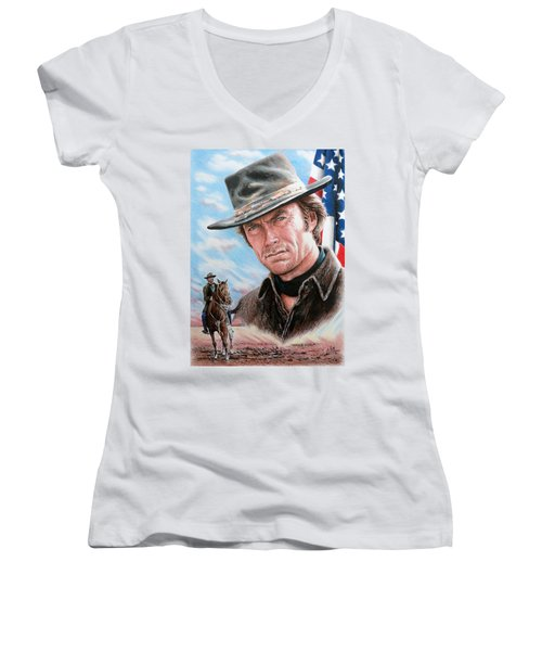 Clint Eastwood American Legend Women's V-Neck (Athletic Fit)