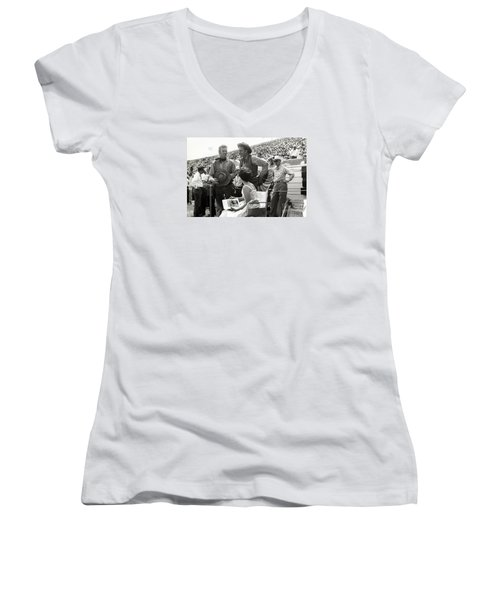 Clint Eastwood  Eric Fleming Characters Rowdy Yates Salinas California 1962 Women's V-Neck T-Shirt (Junior Cut) by California Views Mr Pat Hathaway Archives