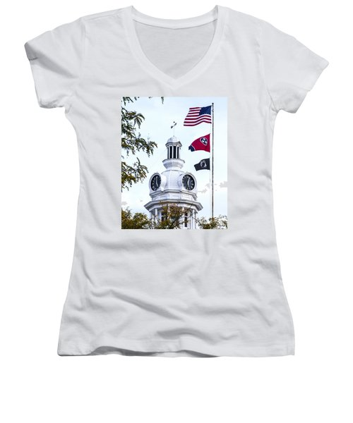 Clock Tower With Tennessee Mia Us Flag Art Women's V-Neck (Athletic Fit)