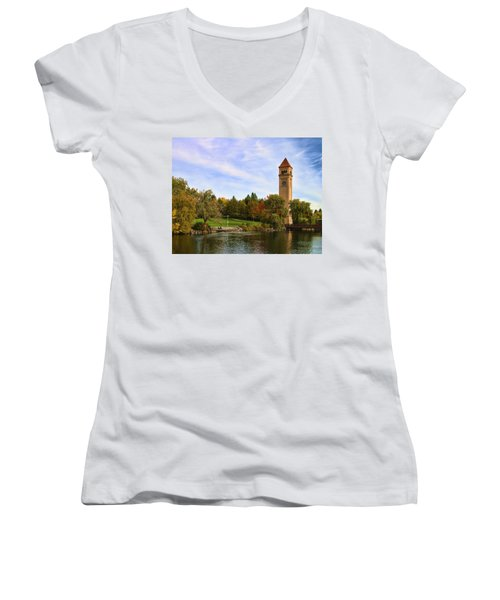 Clocktower And Autumn Colors Women's V-Neck (Athletic Fit)