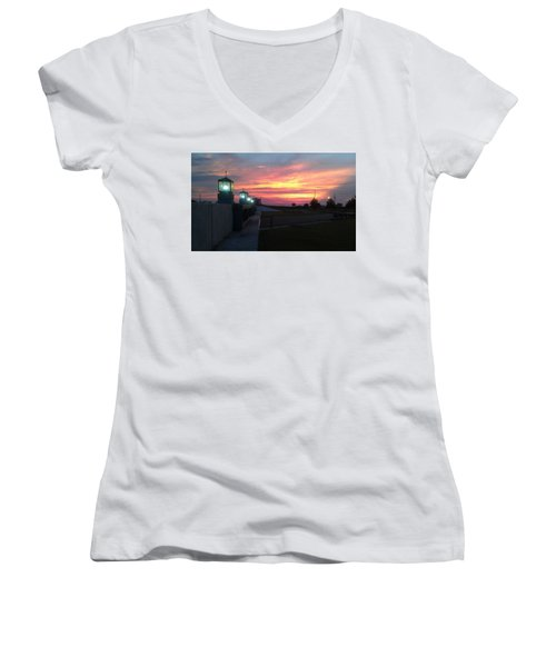 Closed Flood Gates Sunset Women's V-Neck T-Shirt (Junior Cut) by Deborah Lacoste