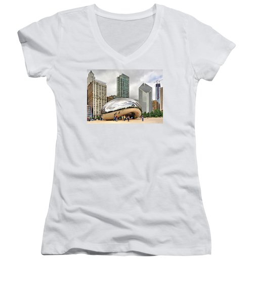 Women's V-Neck T-Shirt (Junior Cut) featuring the photograph Cloud Gate In Chicago by Mitchell R Grosky