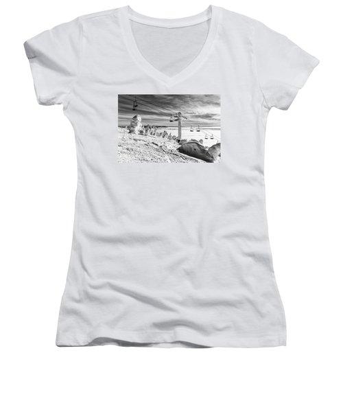 Cloud Lift Women's V-Neck T-Shirt (Junior Cut) by Aaron Aldrich