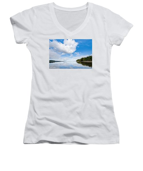 Clouds Reflected In Puget Sound Women's V-Neck