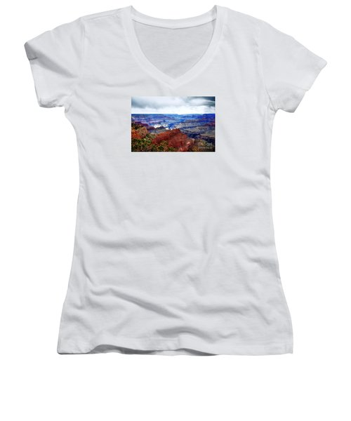 Women's V-Neck T-Shirt (Junior Cut) featuring the photograph Cloudy Day At The Canyon by Paul Mashburn