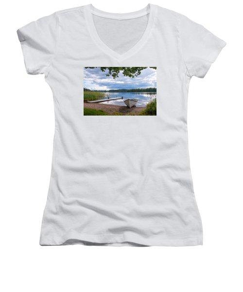 Cloudy Summer Day Women's V-Neck