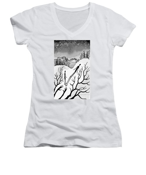 Women's V-Neck T-Shirt (Junior Cut) featuring the digital art Clutching Shadows by Carol Jacobs