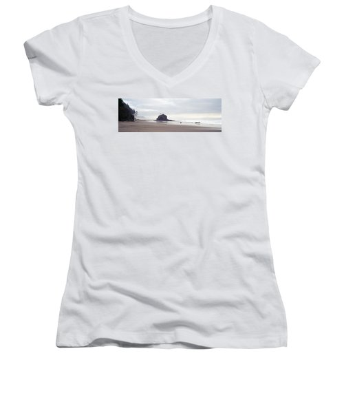 Coast La Push Olympic National Park Wa Women's V-Neck T-Shirt (Junior Cut) by Panoramic Images