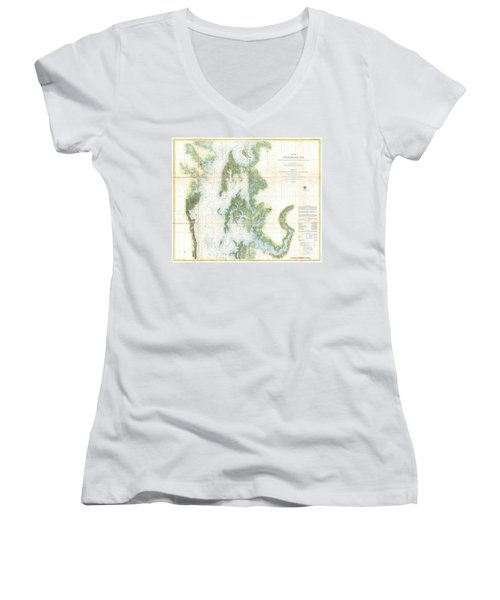 Coast Survey Chart Or Map Of The Chesapeake Bay Women's V-Neck T-Shirt (Junior Cut) by Paul Fearn