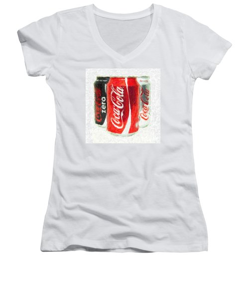 Coca Cola Art Impasto Women's V-Neck T-Shirt (Junior Cut) by Antony McAulay