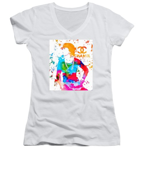Women's V-Neck featuring the painting Coco Chanel Paint Splatter by Dan Sproul