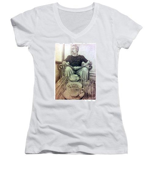Women's V-Neck T-Shirt (Junior Cut) featuring the drawing Coffee Break by R Muirhead Art
