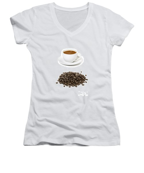 Women's V-Neck T-Shirt (Junior Cut) featuring the photograph Coffee Cups And Coffee Beans by Lee Avison