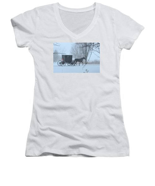 Cold Amish Morning Women's V-Neck (Athletic Fit)