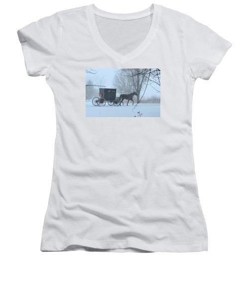 Cold Amish Morning Women's V-Neck T-Shirt