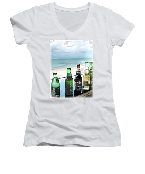 Cold Beers In Paradise Women's V-Neck T-Shirt (Junior Cut) by Joan  Minchak