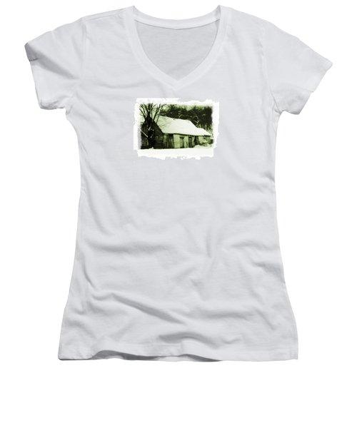 Women's V-Neck T-Shirt (Junior Cut) featuring the photograph Countryside Winter Scene by Nina Ficur Feenan