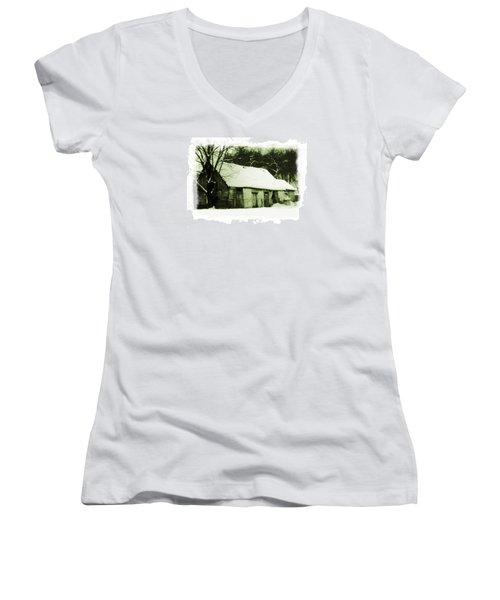 Countryside Winter Scene Women's V-Neck (Athletic Fit)
