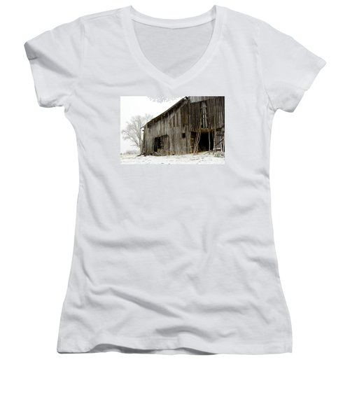 Women's V-Neck T-Shirt (Junior Cut) featuring the photograph Cold Winter At The Barn  by Wilma  Birdwell