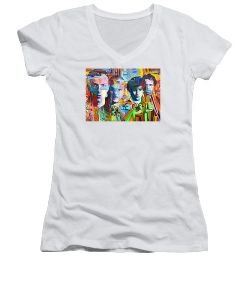 Coldplay Women's V-Neck T-Shirt (Junior Cut) by Joshua Morton
