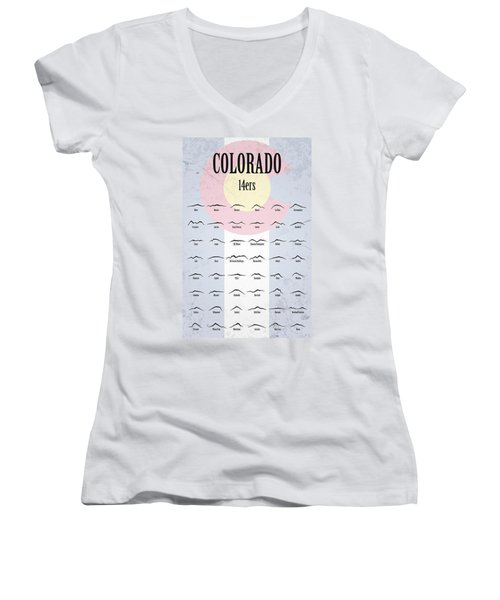 Colorado 14ers Poster Women's V-Neck T-Shirt (Junior Cut) by Aaron Spong