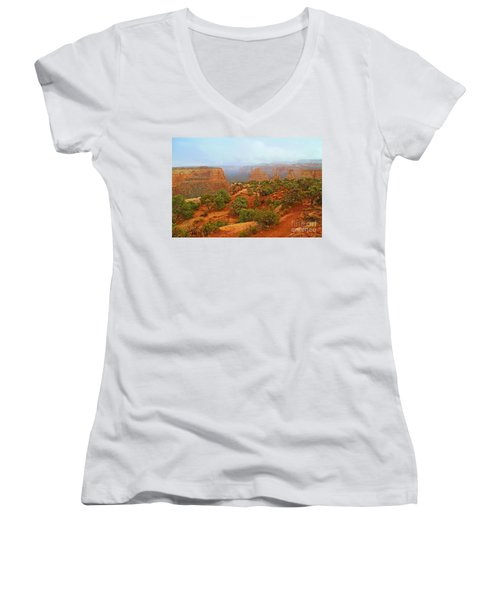 Colorado Natl Monument Snow Coming Down The Canyon Women's V-Neck (Athletic Fit)