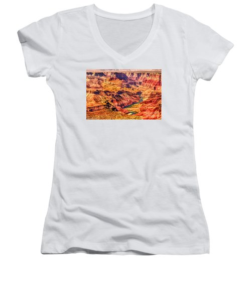 Colorado River 1 Mi Below 100 Miles To Vermillion Cliffs Utah Women's V-Neck