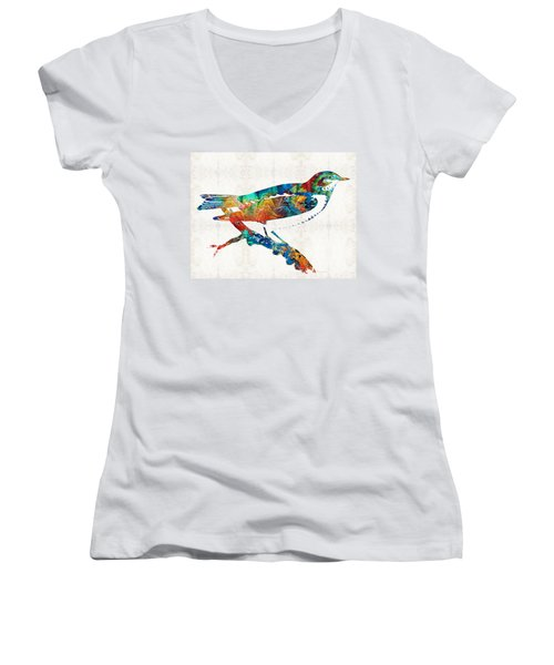 Colorful Bird Art - Sweet Song - By Sharon Cummings Women's V-Neck T-Shirt (Junior Cut) by Sharon Cummings