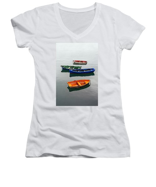 colorful boats on Santurtzi Women's V-Neck