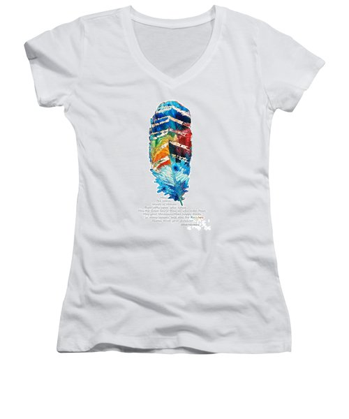 Colorful Feather Art - Cherokee Blessing - By Sharon Cummings Women's V-Neck