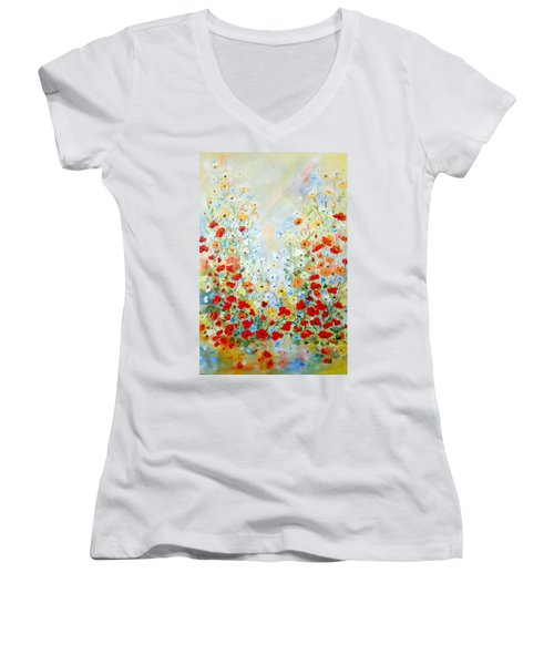 Colorful Field Of Poppies Women's V-Neck T-Shirt (Junior Cut) by Dorothy Maier
