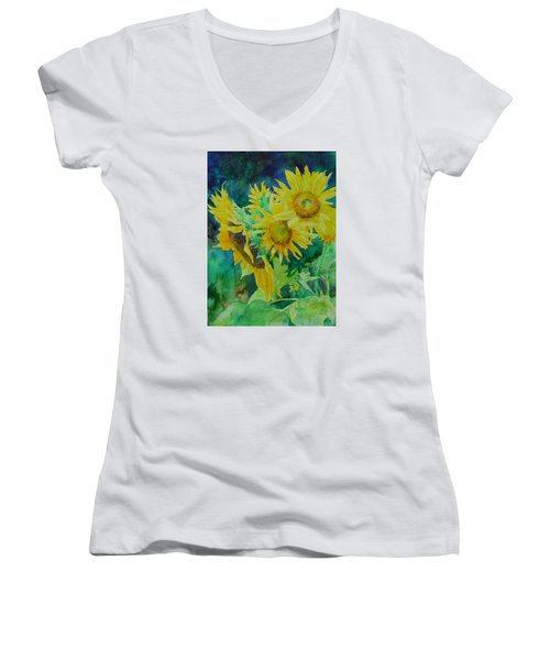 Colorful Original Sunflowers Flower Garden Art Artist K. Joann Russell Women's V-Neck T-Shirt