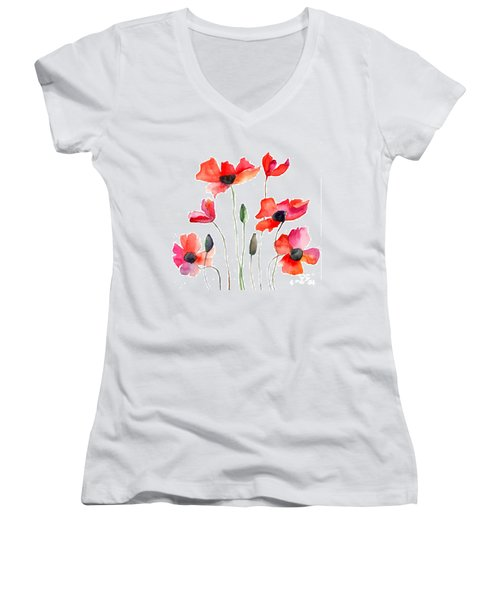 Colorful Red Flowers Women's V-Neck T-Shirt