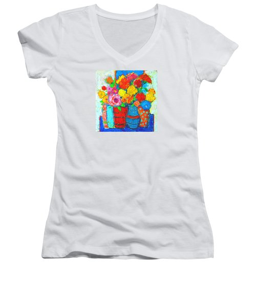 Colorful Vases And Flowers - Abstract Expressionist Painting Women's V-Neck T-Shirt