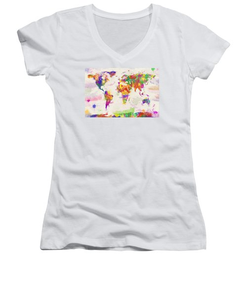Colorful Watercolor World Map Women's V-Neck T-Shirt