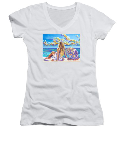 Colorful Woman At The Beach Women's V-Neck T-Shirt (Junior Cut) by Tim Gilliland